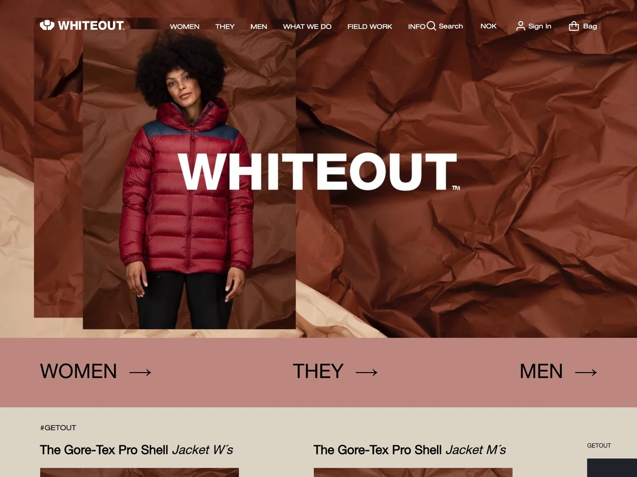 Whiteout outdoor clothing    getout