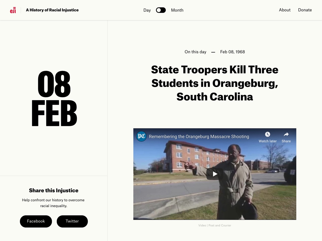 On feb 08  1968  state troopers kill three students in orangeburg  south carolina