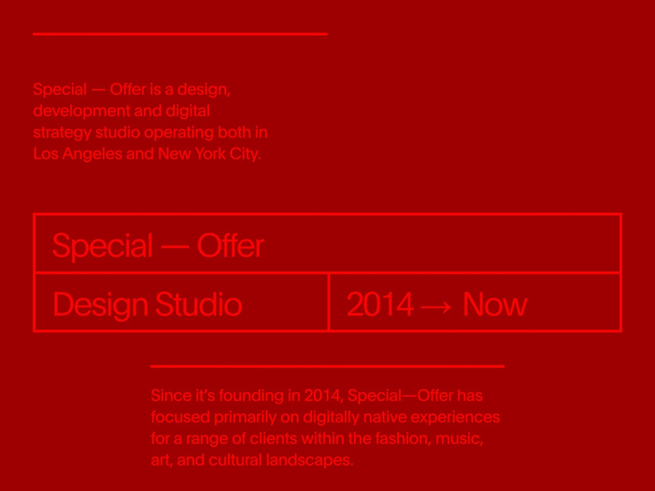Special offer studio