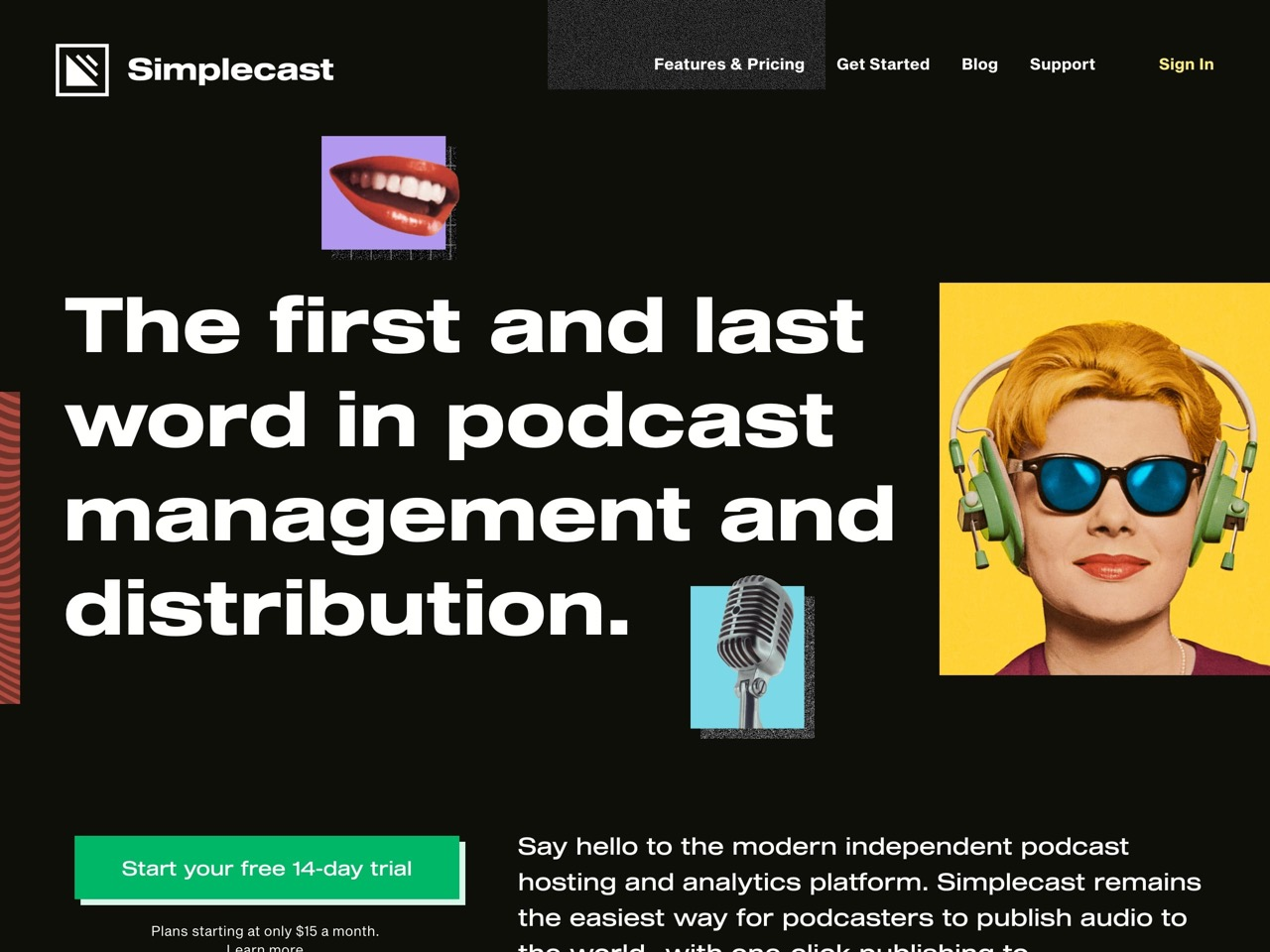 Podcast hosting  distribution   analytics   simplecast