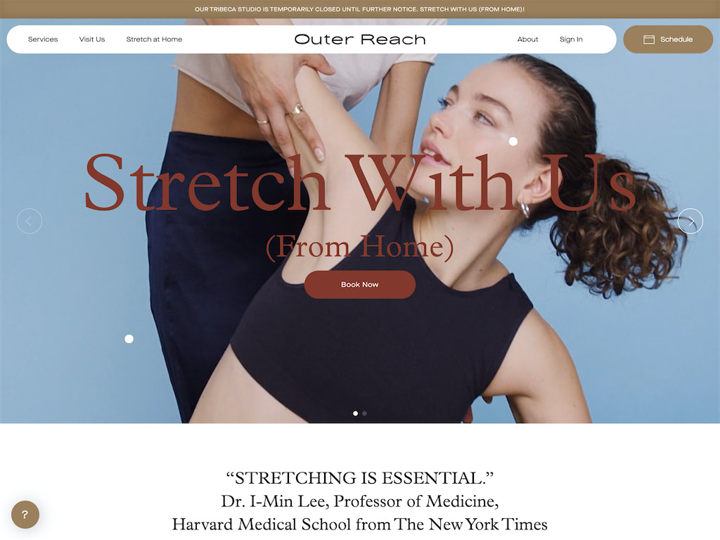 Outer reach stretch studio tribeca   1on1  group stretching classes nyc