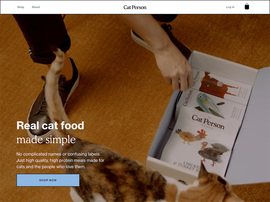 Cat person food goods for cats and the persons who love them